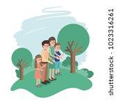 family members in the field | Shutterstock .eps vector #1023316261