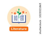 literature reading  open book ... | Shutterstock .eps vector #1023321865