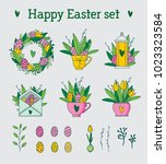 happy easter icons set  hand... | Shutterstock .eps vector #1023323584