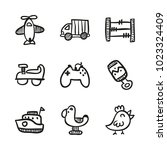icons hand drawn toys. vector... | Shutterstock .eps vector #1023324409