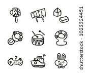 icons hand drawn toys. vector... | Shutterstock .eps vector #1023324451