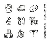 icons hand drawn toys. vector... | Shutterstock .eps vector #1023324595