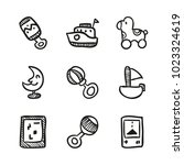 icons hand drawn toys. vector... | Shutterstock .eps vector #1023324619