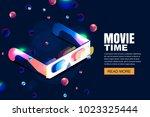 vector glowing neon cinema ...   Shutterstock .eps vector #1023325444