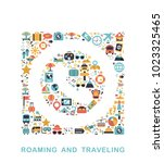 travel icons are grouped in... | Shutterstock .eps vector #1023325465