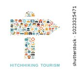 travel icons are grouped in... | Shutterstock .eps vector #1023325471