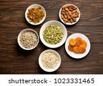 ingredients for cooking granola ... | Shutterstock . vector #1023331465
