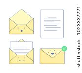set of mail icons with a letter ...