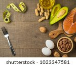 ketogenic low carbs diet... | Shutterstock . vector #1023347581