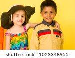boy and girl children kids... | Shutterstock . vector #1023348955