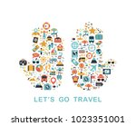 travel icons are grouped in... | Shutterstock .eps vector #1023351001