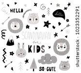 scandinavian kids doodles... | Shutterstock .eps vector #1023352291