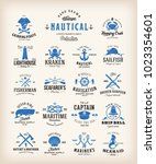 abstract retro nautical labels... | Shutterstock .eps vector #1023354601