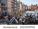 bicycle parking autumn. bicycle ... | Shutterstock . vector #1023355945