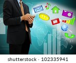 young businessman touch mobile phone - stock photo