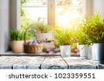 easter table with spring... | Shutterstock . vector #1023359551