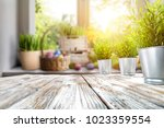 easter table with spring... | Shutterstock . vector #1023359554