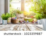 easter table with spring... | Shutterstock . vector #1023359887