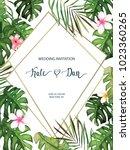 wedding card. invitation... | Shutterstock .eps vector #1023360265