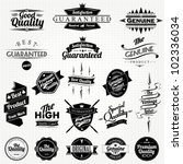 Stock vector vintage styled premium quality and satisfaction guarantee label collection 102336034