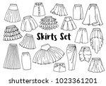hand drawn women skirts set ... | Shutterstock .eps vector #1023361201