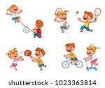 boy on bike. girl on scooter.... | Shutterstock .eps vector #1023363814