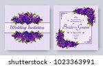 wedding invitation with flowers ... | Shutterstock .eps vector #1023363991