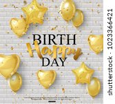 birthday background with golden ... | Shutterstock .eps vector #1023366421