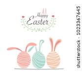 happy easter day greeting card... | Shutterstock .eps vector #1023367645