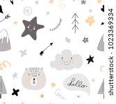 pattern scandinavian kids... | Shutterstock .eps vector #1023369334