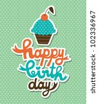 cute happy birthday card with...   Shutterstock .eps vector #102336967