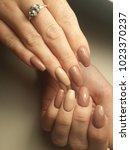 beautiful nude nails. | Shutterstock . vector #1023370237