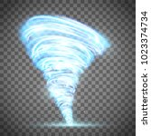 glowing tornado with lightning. ... | Shutterstock .eps vector #1023374734