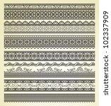 set of vintage lines on beige... | Shutterstock .eps vector #102337909