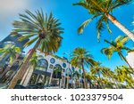 Rodeo Drive under a shining sun, Beverly Hills. California, USA