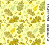 seamless pattern with leaf.... | Shutterstock .eps vector #1023383491