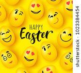 vector happy easter greeting... | Shutterstock .eps vector #1023384454