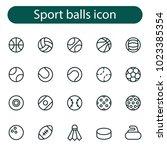 sports balls minimal flat line... | Shutterstock .eps vector #1023385354