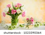beautiful flowers bouquet in... | Shutterstock . vector #1023390364