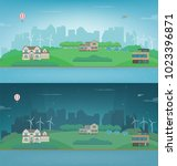 day and night suburban... | Shutterstock .eps vector #1023396871