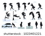 silhouettes of people during... | Shutterstock .eps vector #1023401221