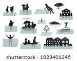 flood infographic silhouette... | Shutterstock .eps vector #1023401245
