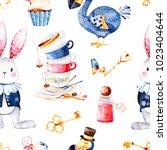 Stock photo wonderland seamless texture magical pattern with bottle dodo bird golden keys cute rabbit in blue 1023404644