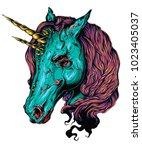 scary unicorn. vector... | Shutterstock .eps vector #1023405037