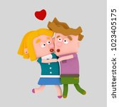 children couple embracing and... | Shutterstock . vector #1023405175