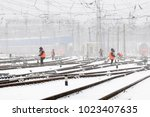 cleaning of railroad switch  in ... | Shutterstock . vector #1023407635