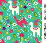 Cute Llama Seamless Pattern...