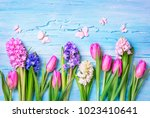 pastel colored flowers on a... | Shutterstock . vector #1023410641