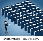 big data concept lot of data in ... | Shutterstock .eps vector #1023411397