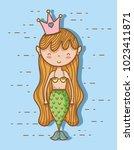 little mermaid art cartoon | Shutterstock .eps vector #1023411871